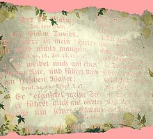 PSALM 23 (WITH PINK LETTERING) by Sandra  Aguirre