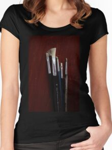 Paint brushes Women's Fitted Scoop T-Shirt