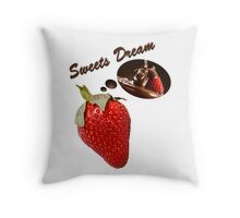 sweets dreams their sweet dreams - strawberry Throw Pillow