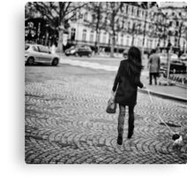 Parisian girl and puppy on Champs-Élysées Canvas Print