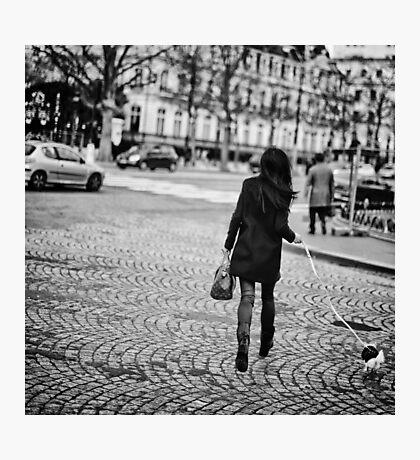 Parisian girl and puppy on Champs-Élysées Photographic Print