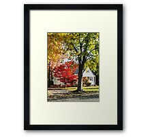 Autumn Street With Red Tree Framed Print