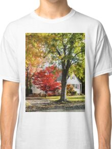 Autumn Street With Red Tree Classic T-Shirt