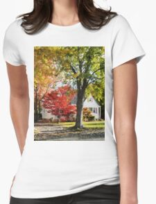 Autumn Street With Red Tree Womens Fitted T-Shirt