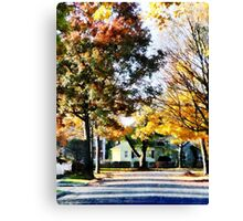 Autumn Street with Yellow House Canvas Print