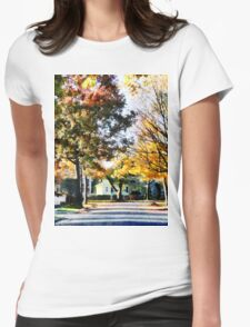 Autumn Street with Yellow House Womens Fitted T-Shirt