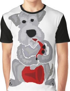 Cool Funny Schnauzer Dog is Playing the Saxophone Graphic T-Shirt