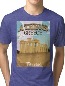 Athens Greece acropolis vintage travel poster Tri-blend T-Shirt