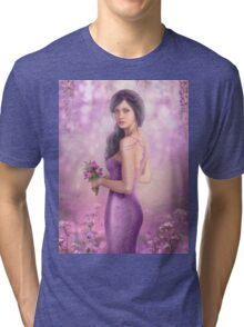 Spring Illustration beautiful Fantasy woman with purple flowers in sakura background Tri-blend T-Shirt