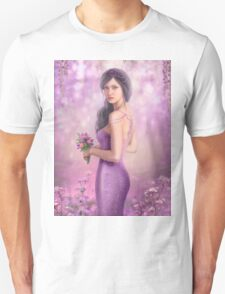 Spring Illustration beautiful Fantasy woman with purple flowers in sakura background Unisex T-Shirt