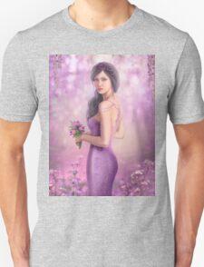 Spring Illustration beautiful Fantasy woman with purple flowers in sakura background T-Shirt