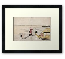 Gathering Clams - anon - c1810 - woodcut Framed Print