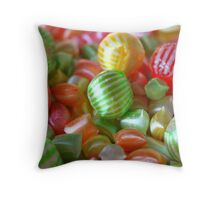 Multi-Colored Striped Candy Throw Pillow
