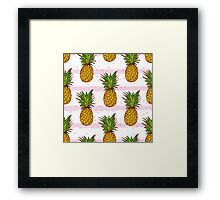 Pineapple and hand drawn stripes seamless vector print Framed Print