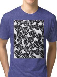 Monstera // tropical house plant black and white botanical andrea lauren  Tri-blend T-Shirt