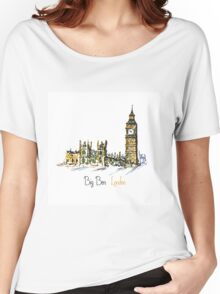 Watercolor Clock tower Big Ben Palace Women's Relaxed Fit T-Shirt