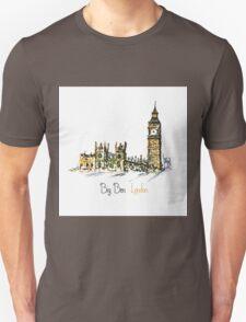 Watercolor Clock tower Big Ben Palace T-Shirt