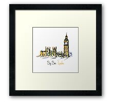 Watercolor Clock tower Big Ben Palace Framed Print