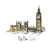Watercolor Clock tower Big Ben Palace Photographic Print