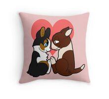 Valentine - Corgi loves Bullie Throw Pillow