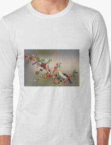 Goldfinches in Yaupon Holly Tree Long Sleeve T-Shirt