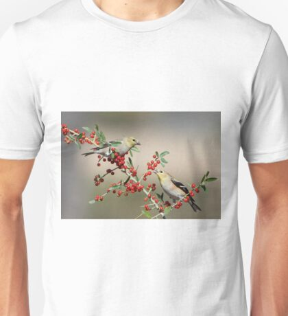 Goldfinches in Yaupon Holly Tree Unisex T-Shirt