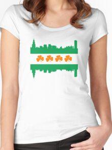 Irish Chicago Flag Skyline Women's Fitted Scoop T-Shirt