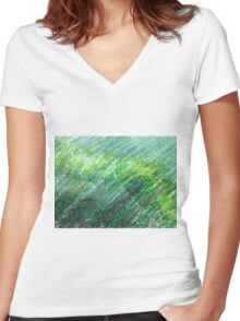Earth Tones in Oil Pastel Women's Fitted V-Neck T-Shirt