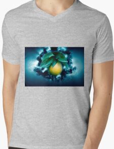 Digitally manipulated Ripe orange on a tree before picking  Mens V-Neck T-Shirt