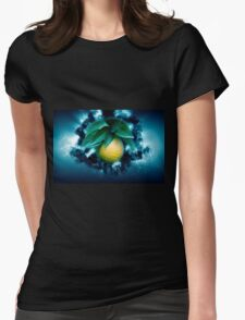 Digitally manipulated Ripe orange on a tree before picking  Womens Fitted T-Shirt