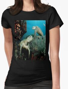 Turtle in the Ocean Womens Fitted T-Shirt