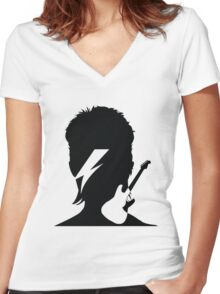 David Bowie Women's Fitted V-Neck T-Shirt