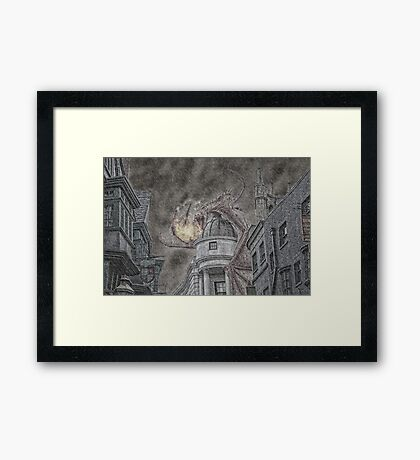 Hungarian Horntail Dragon in Red Framed Print