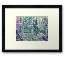 Forest In Shades of Blue Oil Pastel Art Framed Print