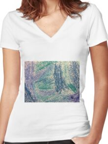 Forest In Shades of Blue Oil Pastel Art Women's Fitted V-Neck T-Shirt