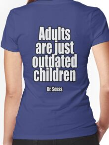 Dr. Seuss, Adults are just outdated children. Navy, Blue Women's Fitted V-Neck T-Shirt