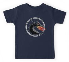 DRAGON, HEAD, Fire, Breathing, CIRCLE, SYMBOL, NAVY, BLUE Kids Tee