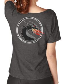 DRAGON, HEAD, Fire, Breathing, CIRCLE, SYMBOL, NAVY, BLUE Women's Relaxed Fit T-Shirt