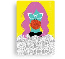 woman with rose Canvas Print