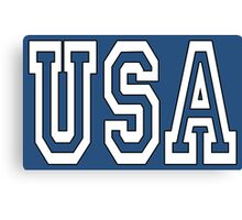 USA, U.S.A. United States of America, Patriot, America, American, US, BLACK & WHITE on BLUE Canvas Print