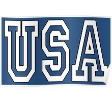 USA, U.S.A. United States of America, Patriot, America, American, US, BLACK & WHITE on BLUE Poster