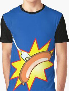 Flying sausage - Grange Hill pop art stylee Graphic T-Shirt