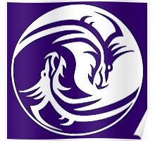Yin Yang, Dragon, Doctormo, Dring, Drang, Eastern, WHITE on Deep Purple Poster