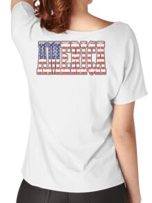AMERICA, Stars and Stripes, AMERICAN, Patriotic Type, Patriot Type, Navy, Blue Women's Relaxed Fit T-Shirt
