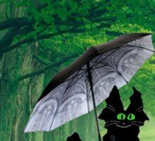 Black Cat In The Rain Sticker