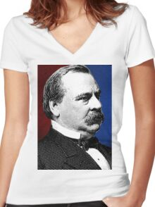 GROVER CLEVELAND Women's Fitted V-Neck T-Shirt