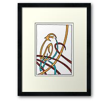 Sparrow in Blue (Ribbons) Framed Print