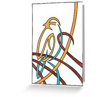 Sparrow in Blue (Ribbons) Greeting Card