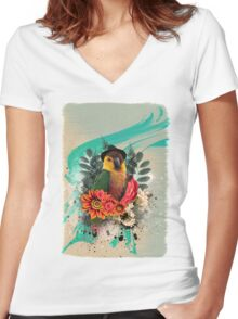 Cool Parrot Women's Fitted V-Neck T-Shirt