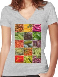 Fruit and Vegetable Collage Women's Fitted V-Neck T-Shirt